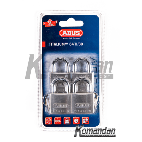 ABUS 64TI/30mm Titalium Outdoor Padlock 4 Units