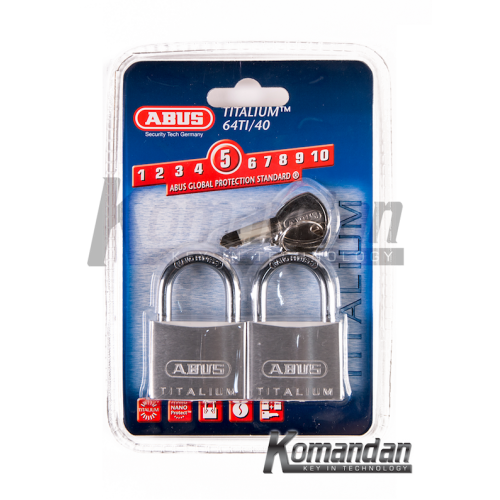 ABUS 64TI/40mm Titalium Outdoor Padlock 2 Units